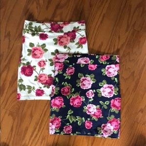 2 Floral Bodycon Skirts